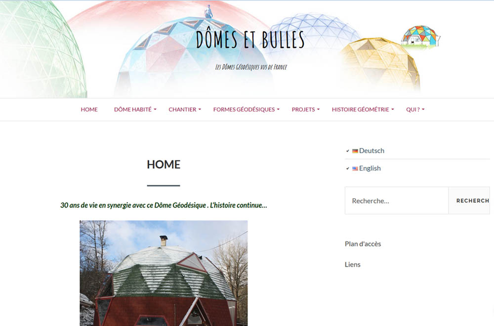 Site internet Dômes et bulles